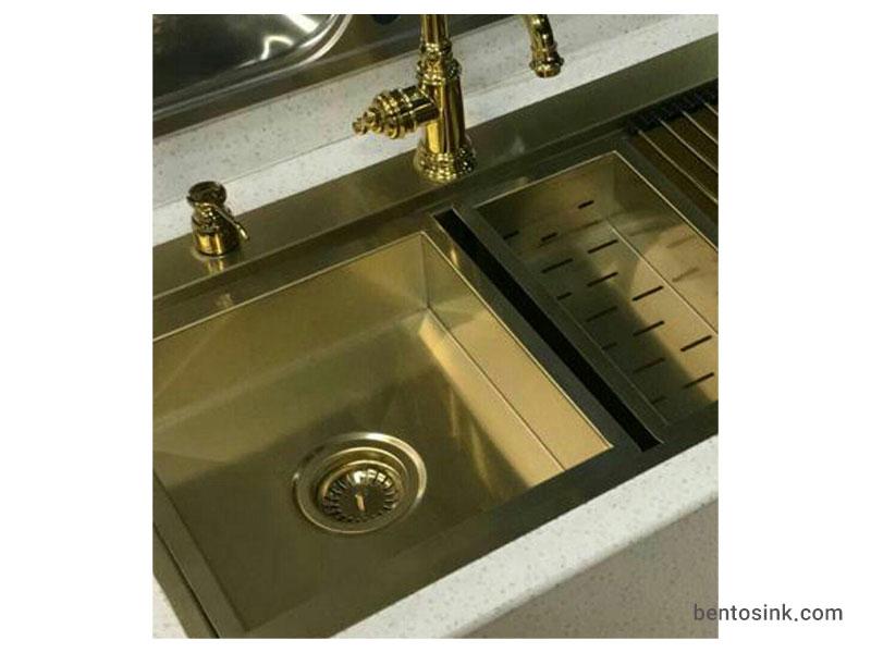 نصب سینک بنتو B90 طلایی به صورت روکار